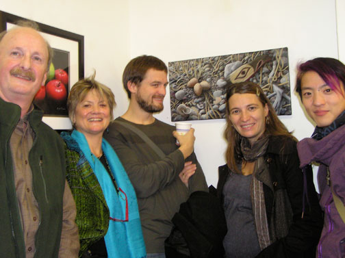 NAWA Gallery family gathering with Pacific Beach treasures inthe background.