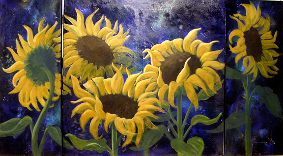 Starry Sunflower Triptych.