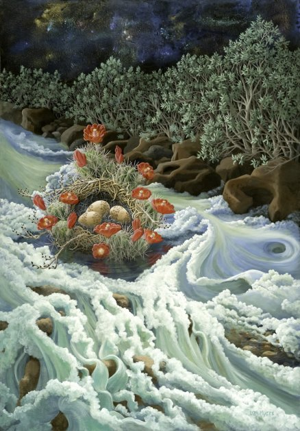 River Nest © liza myers acrylic painting on canvas 50