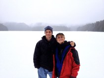 There was a snowy drizzle while we hiked. Here we are standing quite a ways out on the frozen lake.