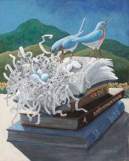 "Woven Word Nest Acrylic on canvas 20"" x 16"" © liza myers"