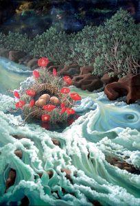 "River Nest, acrylic on canvas, 58"" x 40"" ©lizamyers"