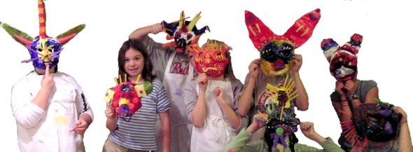 Some wild and crazy paper maché masks.