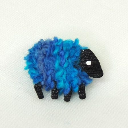LizzyC|sheep|brooch|ariel|blue