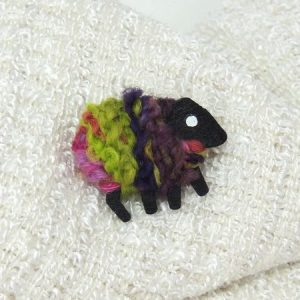 lizzyc|sheep|brooch|biddy|lime_pink_purple