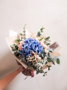 Hydrangea wrapped bouquet -lizflorals