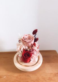 Festive Floral Dome arrangement with blush and red preserved flowers