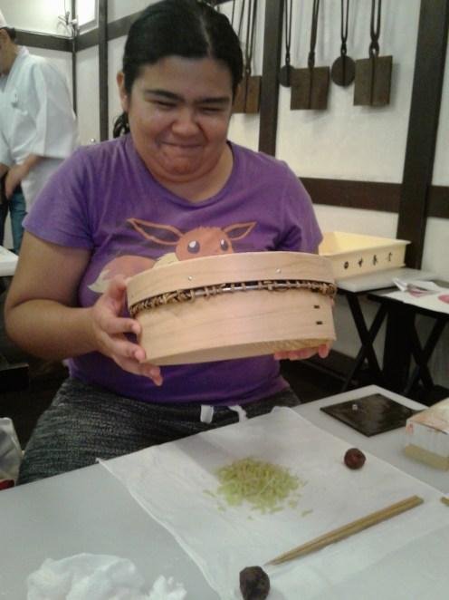 Mushing anko for hakuro