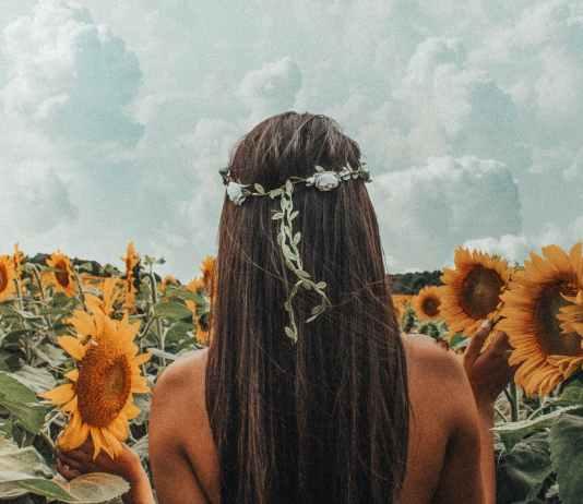 photo of woman near sunflowers