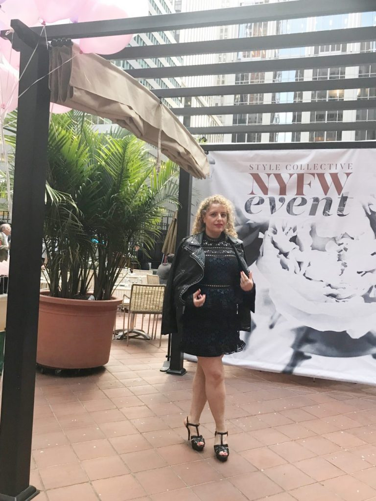 How To Get Invited To NYFW by popular Los Angeles fashion blog, Liz in Los Angeles: image of a woman standing outside of the Style Collective NYFW event.
