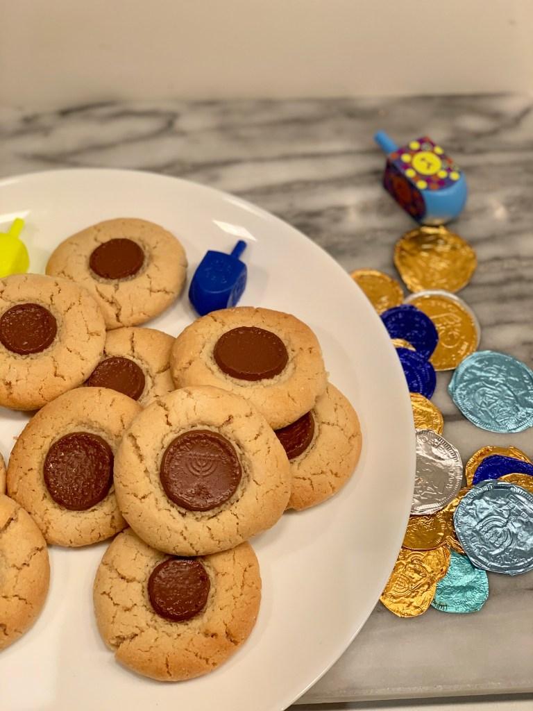 Recipe for Hanukkah Cookies | Best Hanukkah Recipes by popular Los Angeles lifestyle blog, Liz in Los Angeles: image of Almond flour gelt cookies.