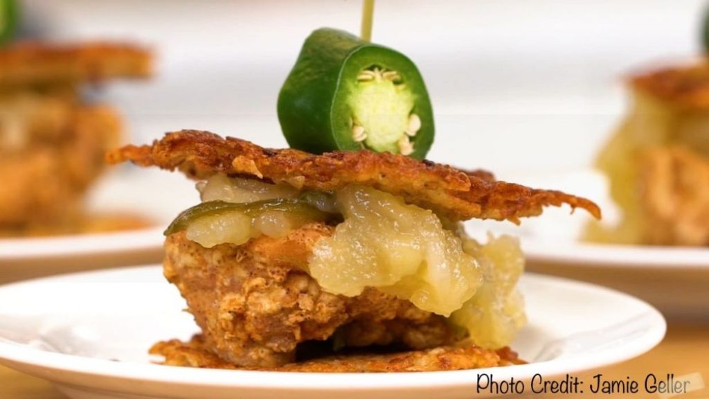Hanukkah Recipe You Need To Try by Liz in Los Angeles, Los Angeles Blogger | Best Hanukkah Recipes by popular Los Angeles lifestyle blog, Liz in Los Angeles: image of fried chicken latke sliders.