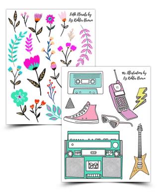 Free Watercolor Wreath Digital Planner Stickers – Liz Kohler