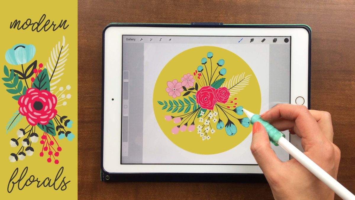 Modern Florals on Your iPad in Procreate + 22 Free Stamps and Templates