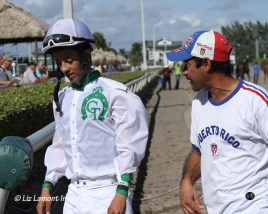 Trainer Willie Melendez and Jockey E J Zayas discussing the race