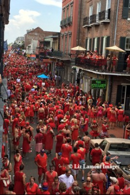 Participants gather on Bourbon Street after the race.