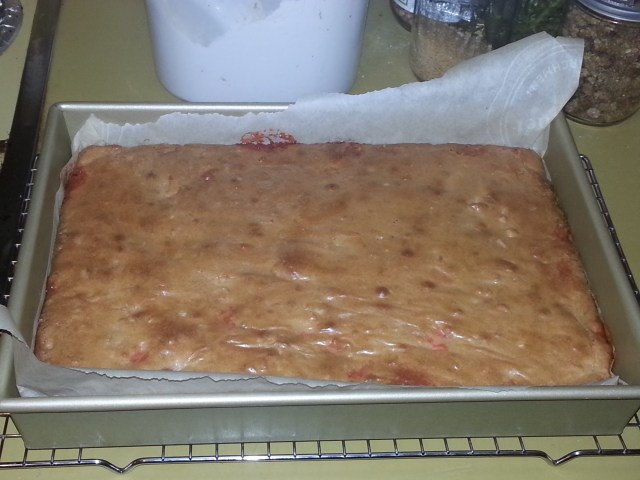 Candy corn macadamia nut blondies fresh out of the oven