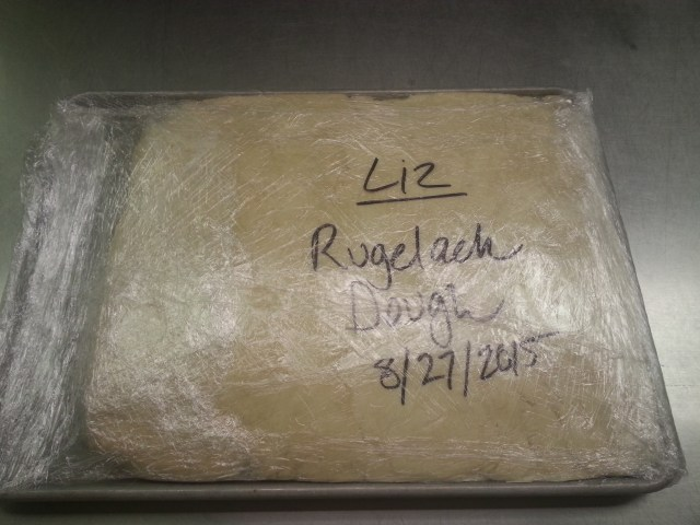 Giant block of rugelach dough