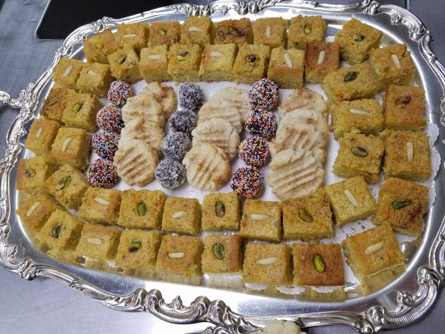 Tray of desserts for a Jerusalem-themed event