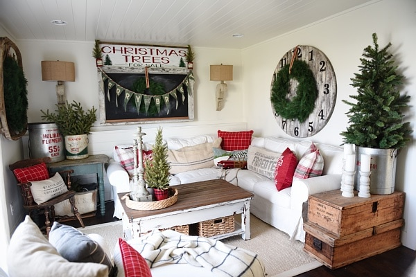 Cozy Rustic Christmas Cottage Living Room