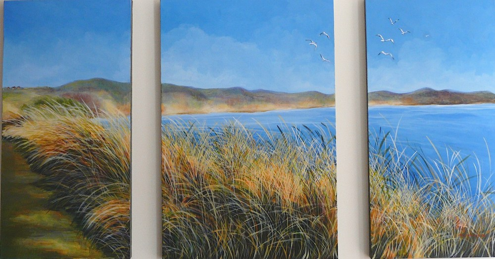 Port Fairy Southern Ocean triptych Acrylic on canvas 153x91x4cms 2006©  For sale. Enquiries to lizmg@bigpond.net.au