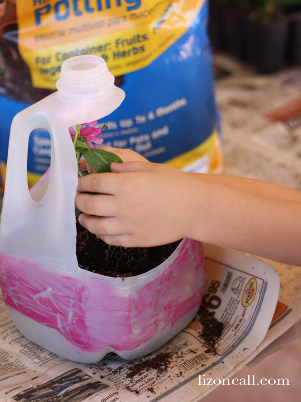 recycle plastic containers for flower planters