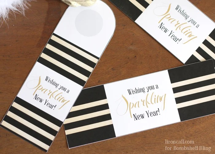 Wishing you a sparkling new year free printable tags and bands