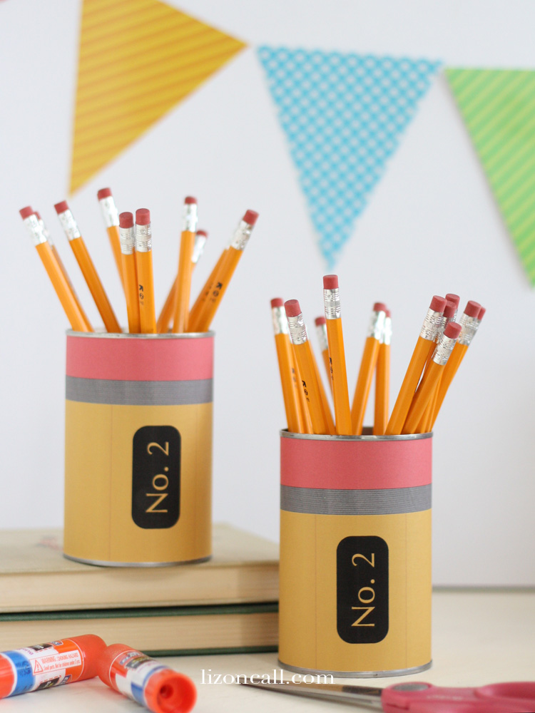 Printable Pencil Wrapper To Make A Cute Pencil Holder Out Of A Tin Can.  Perfect