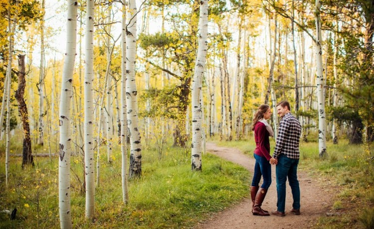 kenosha pass fall engagement session yellow aspens