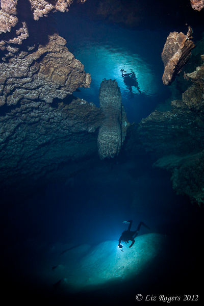 Reflected cave diver