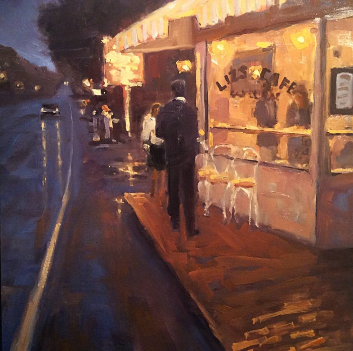 Jonathan Earle Painting of Liz's Cafe, Anybody's Bar, Provincetown, MA