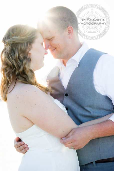 Sun in background of newlyweds