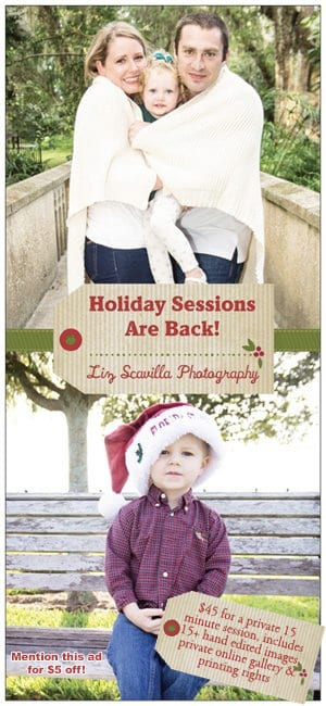 Holiday sessions are back! Mention this ad for $5 off!