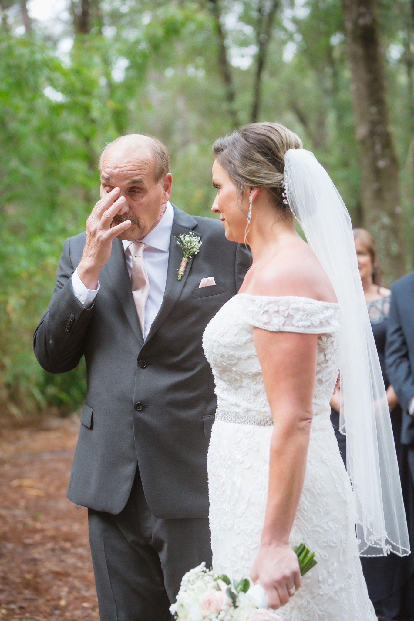 Father of the bride in an emotional moment.