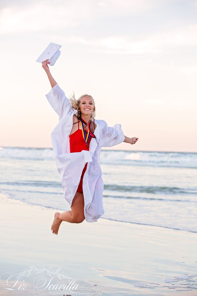 Jumping On The Beach Senior Photos - Daytona Beach - Liz Scavilla Photography