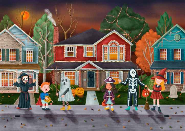 trick or treat halloween themed illustration
