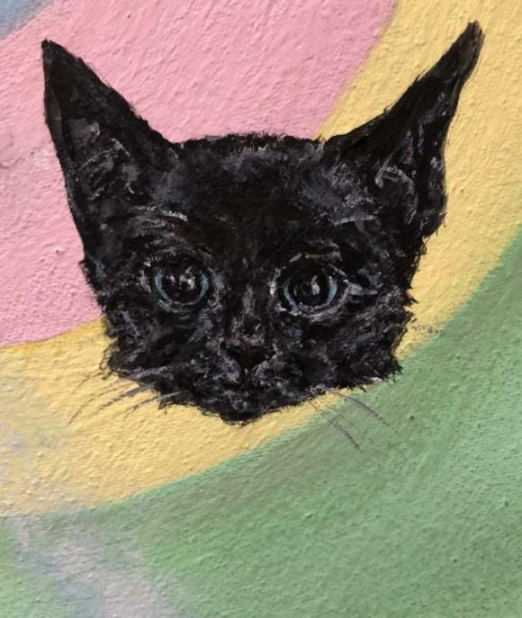 Black kitten painting