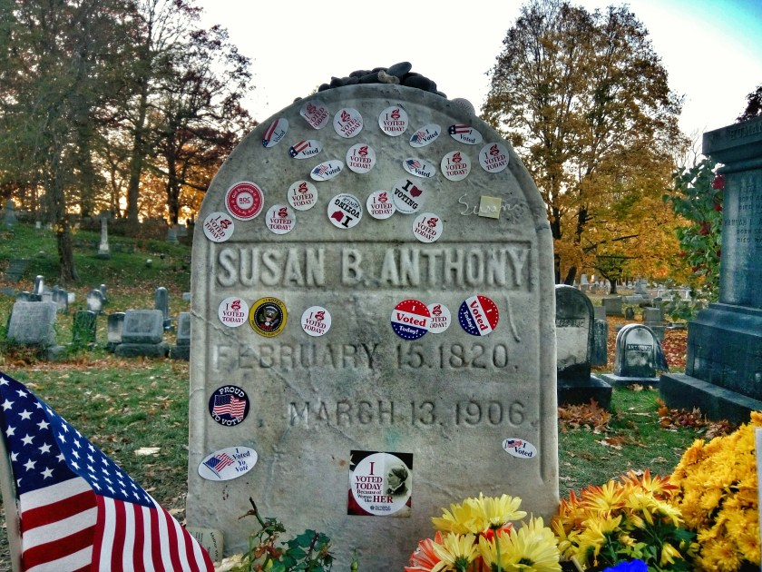 Tombstone of suffragette Susan B. Anthony with I voted stickers left during the 2016 US presidential election