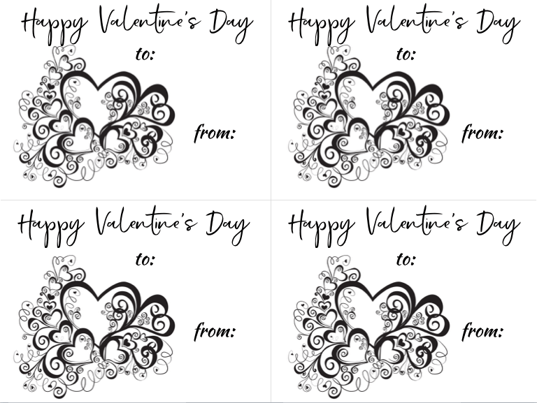 photo relating to Printable Valentines Black and White referred to as Totally free Printable Valentines Working day Playing cards