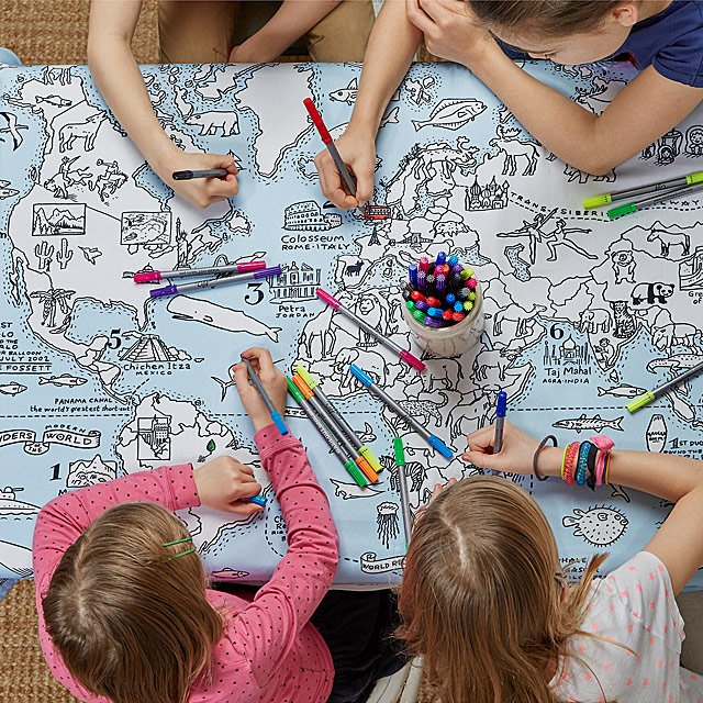 world map coloring tablecloth for kids