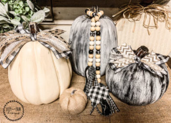 Black and White Painted and Distressed Pumpkins