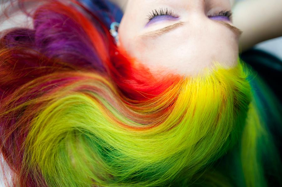Rainbow Colorful Hair by Lizzy Davis using Manic Panic Hair Dye.