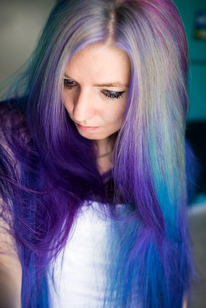 Pravana Silver hair with Pravana Violet and Pravana Blue hair dye.