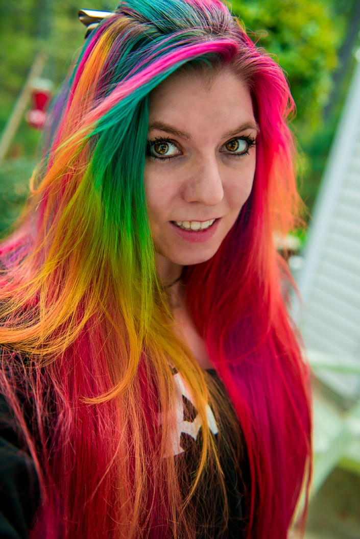 Manic Panic Rainbow Hair on Lizzy Davis.