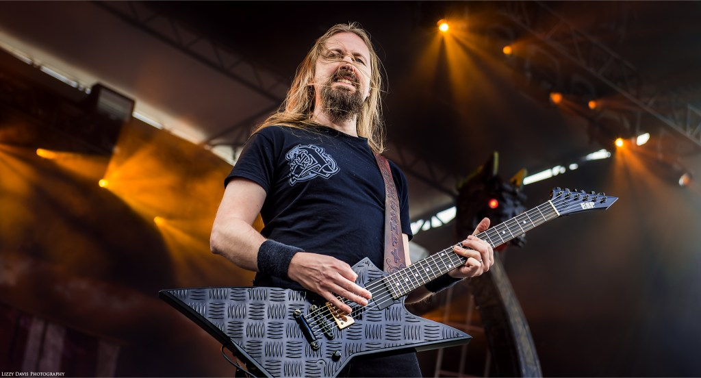Guitarist Johan Söderberg with his uniquely textured ESP guitar.