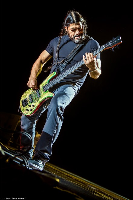 Metallica concert 2017. Photo of Robert Trujillo at Rock on the Range. ©Lizzy Davis Photography