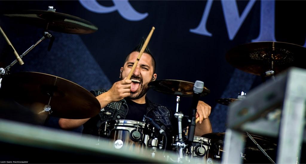 Valentino Arteaga, drummer of Of Mice & Men at Carolina Rebellion 2017. ©Lizzy Davis Photography
