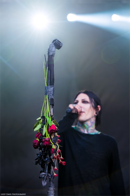 Roses hanging from Chris Motionless' microphone at Welcome to Rockville. ©Lizzy Davis Photography