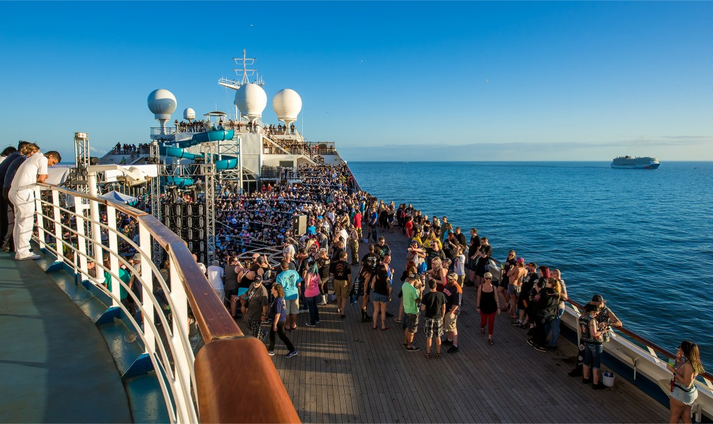 Shiprocked 2018 Photos - the crowd on Carnival Liberty leaving Port Canaveral. Lizzy Davis Photography