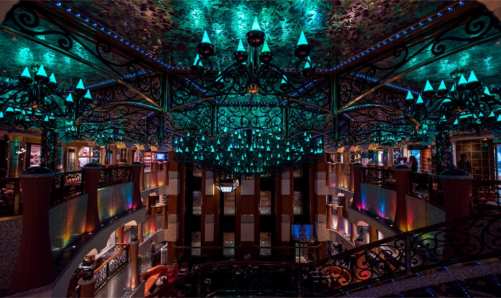 Carnival Liberty cruise ship interior chandelier in the main lobby. Photo by Lizzy Davis.